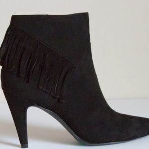 Nine West suede leather booties with fringe.